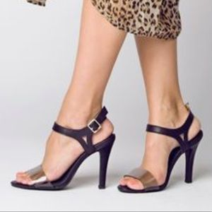 NEW ColorBlock Clear Strap Stiletto Heel Sandal